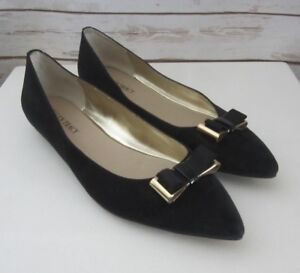 NEW Ellen Tracy Womens 9 M Black Suede Ballet Flats Pointed Toes Gold Bows