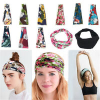 Ladies Women Wide Hairband Elastic Bandana Turban Hair Band Sport Yoga Head Wrap