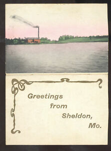 GREETINGS FROM SHELDON MISSOURI VINTAGE POSTCARD MO. DOUBLE FOLDOUT