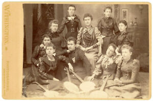 5 BANJOS 10 YOUNG WOMEN 1880s BANJO CABINET CARD PHOTO DANIELSON CONNECTICUT CT