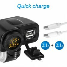 Waterproof Motorcycle Fast Charge Dual USB Phone Charger With Voltage Display US