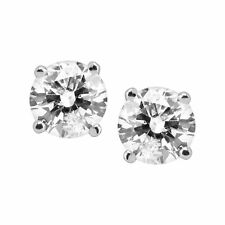 1 ct ronda diamante Pendientes con Pasador de Oro Blanco 14K (1 CT, color, claridad I2-I3)