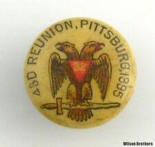 SCOTTISH RITE - Vintage 32nd Degree Masonic Reunion Pittsburgh Cuff Button Stud