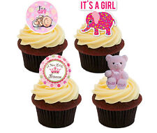 New Baby Shower Girl Edible Cupcake Toppers, Standup Fairy Cake Decorations Pink
