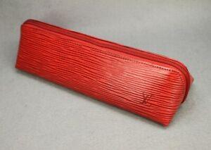 Auth LOUIS VUITTON Epi Red Leather Pen/pencill Case