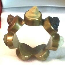 Late Victorian Low K gold Hand Carved 7 Angel Faces Lava Stone Cameo Ring Sz.5
