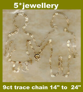 real 9ct 375 yellow gold solid fine trace nacklace chain new not scrap 16 18 20