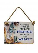"Retro Mini Metal Nautical ""Fishing - Not Wasting Time"" Hanging Decoration 9x7cm"