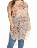 Vince Camuto Womens Tunic Blouse Beige Size 2X Plus Floral Print Sheer $109 325