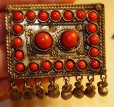 "Nepal Tribal Pendant 30"" long Necklace Faux Coral Cabochon Stones-Hare Krishna!"