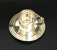 Rare Christofle Art Deco Ondulations Demi-Tasse Cup & Saucer by Luc Lanel