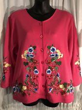 Bechamel Stunning EUC Hot Pink Floral Embroided Scoop Neck Large Button Jacket