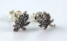 Sterling Silver Cannabis Leaf Ganja Studs Earrings Celtic UK SELLER
