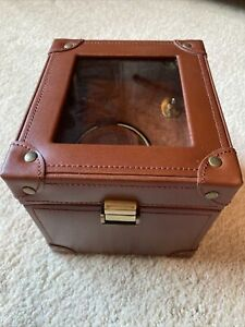 Wolf Designs module 1.5 watch Winder Rotator Brown Leather Missing Cord