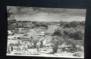 Tuckton Tea Gardens Bournemouth boats on river vintage Real Photo Postcard