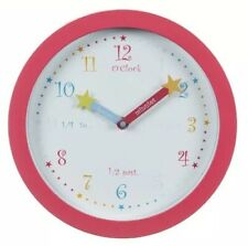 Quality Kids Wall Clock Learning To Tell Time 25cm EDUCATION PINK GIFT BIRTHDAY
