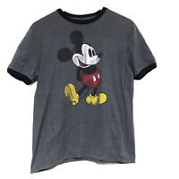 Hanes Disney Parks Size Small Women's Gray MIckey Mouse Ringer Tee T-Shirt