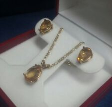 Genuine Citrine Pear-shaped Solid Gold Pendant & Chain Earrings Set of 4 pieces