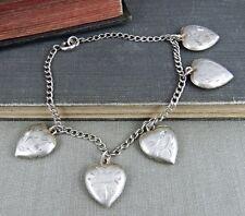 Vintage Etched Heart Charm Bracelet
