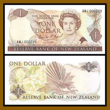 New Zealand 1 Dollar, ND 1989-1992 P-169c Queen Elizabeth II Low S/N 000209 Unc