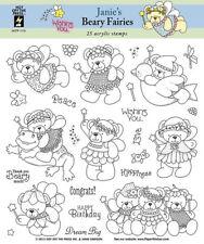 Hot off the Press Janie's Beary Fairies Stamps - Fairy, Teddy Bears, Birthday