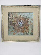 Vintage William's Stebbins Birds Nest #1 Blue Eggs Oil Painting