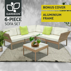 Gardeon Outdoor Sofa Set 6pc Lounge Setting Wicker Furniture Table Couch Brown