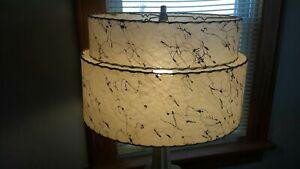 Mcm fiberglass double lamp shade retro atomic.