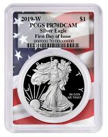 2019 W 1oz Silver Eagle Proof PCGS PR70 DCAM First Day Issue - Flag Frame