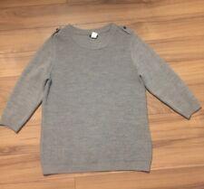 J Crew Womens Hadley Sweater Grey 100% Merino Wool 3/4 Sleeve  Large