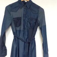 Denim Collar Long Sleeve Dresses Midi