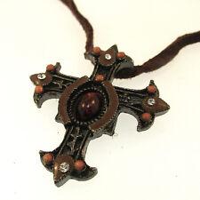 """Jeweled Fleuree Cross Pendant Necklace 18"""" Adjustable Handpainted Enamel Artisan"""