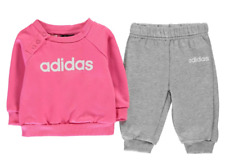 ADIDAS Jumper and Joggers Set Baby Girls Pink/Grey Size UK 6-9 Months *REF176