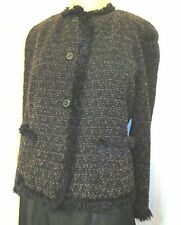 Dana Buchman Black Brown Wool Boucle Tweed Fringe Trim Blazer Jacket 14