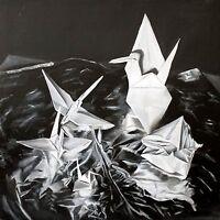 """Origami Birds"" O/C Original Oil Painting Contemporary Realism HUGE (44x44)"