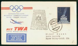 Mayfairstamps Austria 1960 Olympic Flame TWA Wien Squaw Valley CA Cover wwp_5086