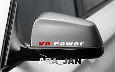 2 - V8 POWER Racing Sport Vinyl Decal sticker logo mirror WHITE/RED