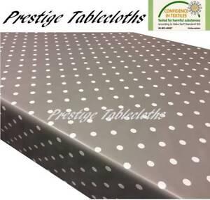 Slate Grey Polka Dot Spots PVC Vinyl Wipe Clean Tablecloth Oilcloth ALL SIZES