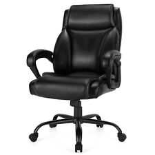 Costway 400 Lbs Big Amp Tall Leather Office Chair Adjustable High Back Task Chair