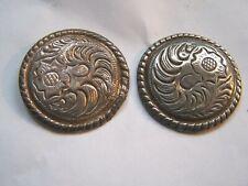 Set of 4 Used Engraved Conchos~wood screw backs~diameter 1.5 on metal