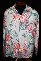 Rare Collection Quality 1940's Silky Rayon Long Sleeve Hawaiian Shirt Size LG