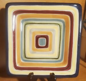 """Tabletops Gallery AMHERST Square Salad plate, 8 1/2"""", Stripes, Excellent"""