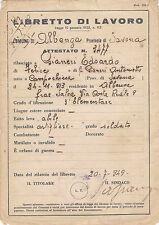 LIBRETTO DI LAVORO ALBENGA 1949 CAMPOCHIESA SALEA 20-6