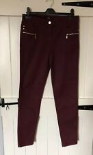 Size 10 Burgundy Skinny Trousers, Zip Detail