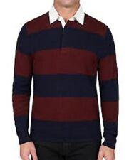 slate & Stone Polo sweater Blue red striped long Sleeve 2XL mc
