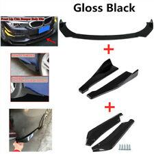 Universal Glossy Black Car Front Bumper Lip Spoiler Rear Side Skirt Splitter Kit