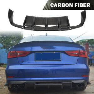 Fit for Audi A3 Sline S3 Sedan 13-16 Carbon Fiber Rear Bumper Diffuser Lip Chin