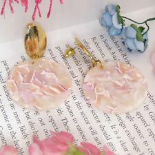 Women Pink Boho Geometric Drop Dangle Hook Acrylic Resin Stud Earrings Jewelry