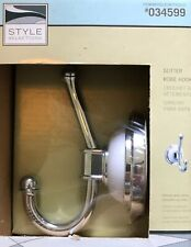 "Style Selections ""Sutter"" Single Robe Hook, Chrome with White Porcelain - 034599"
