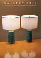 WOW! PAIR MID CENTURY CALIF MODERN POTTERY ATOMIC BLUE TABLE LAMPS! VTG 50S 60S
